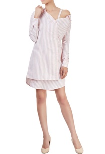 pink-white-striped-wrap-shirt-dress