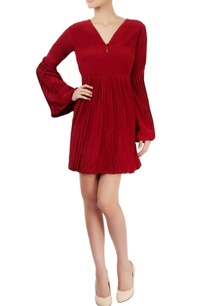 burgundy-dress-with-pleats