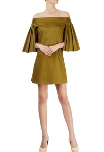 military-green-off-shoulder-dress