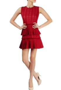 burgundy-dress-with-lace-pleats