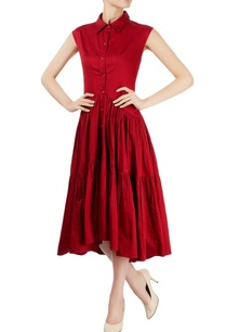 burgundy-ruched-tierred-dress
