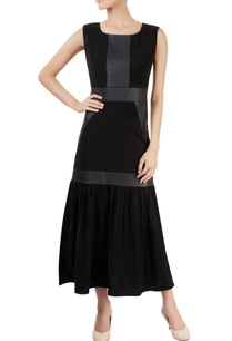 black-ankle-length-dress-with-gathers