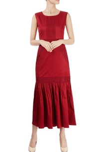 burgundy-ankle-length-dress-with-gathers