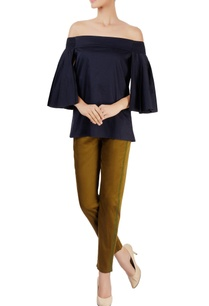 navy-blue-off-shoulder-top-with-pleated-sleeves