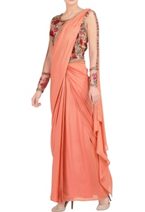 peach-embroidered-sari-gown
