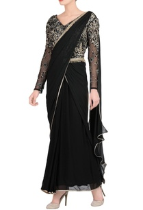 black-embroidered-sari-gown