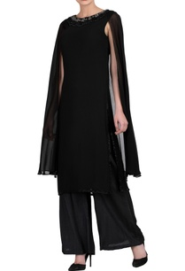 black-kurta-set-with-attached-cape