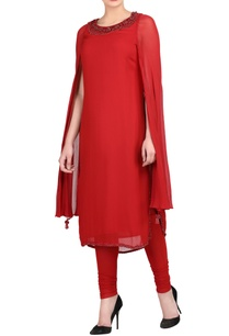 red-kurta-set-with-attached-cape
