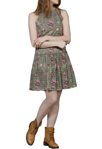 green-chintz-short-dress