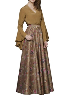 brown-chintz-skirt-set