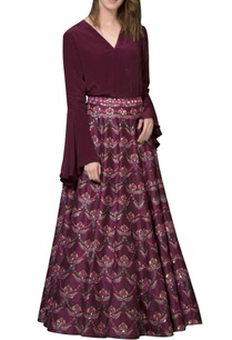 wine-red-embellished-skirt
