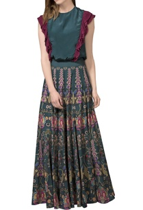 bottle-green-printed-maxi-skirt