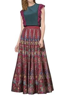 maroon-printed-maxi-skirt
