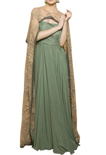 smoke-green-beige-cape-gown