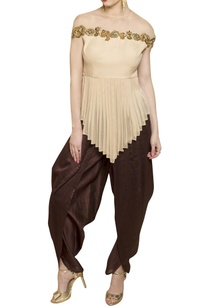off-white-top-with-dark-brown-dhoti-pants