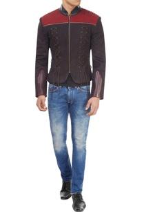 black-maroon-studded-jacket
