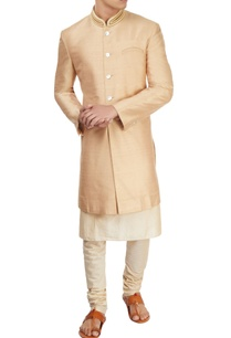 beige-short-sherwani-with-kurta-churidar