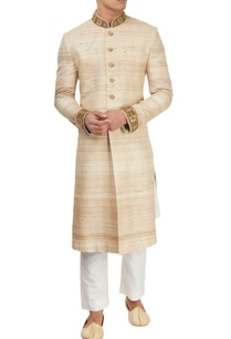 beige-sherwani-with-kurta-churidar