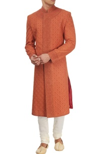 rust-sherwani-with-kurta-churidar