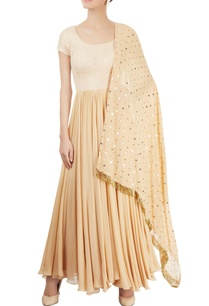 beige-anarkali-set-with-kamdani-chikankari-work