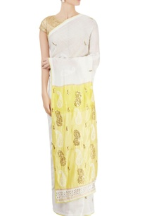 white-yellow-sari-with-chikankari-kamdani-work