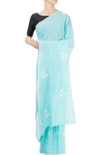 mint-blue-sari-with-three-leaf-motifs