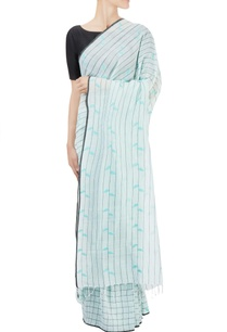 mint-green-striped-checked-sari-with-leaf-motifs