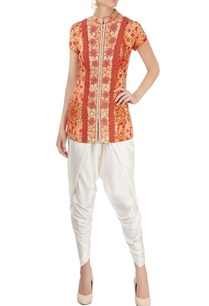orange-printed-pant-set-with-embroidery