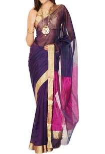 purple-pink-sari-with-blouse-piece
