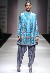 turquoise-printed-kurta-grey-dhoti-pants