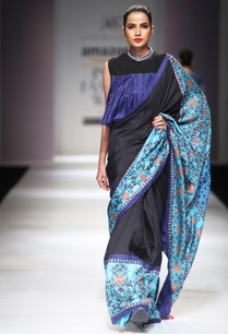 black-blue-sari-with-blouse