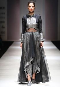 black-white-asymmetric-kurta-dhoti-pants