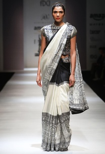 black-white-printed-sari-blouse