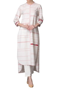 ivory-red-high-low-striped-kurta-with-pants