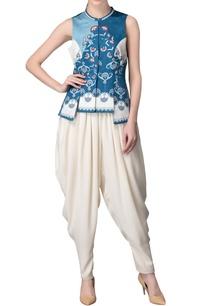 smokey-blue-white-printed-waistcoat