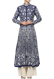 indigo-blue-hand-embroidered-kurta-set