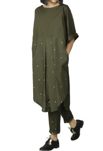 olive-green-dress-with-polka-dots
