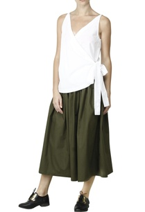 olive-pleated-skirt