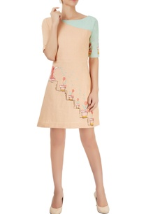 peach-aqua-blue-embroidered-dress