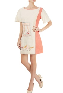 ivory-coral-pink-embroidered-dress