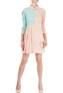 blush-pink-aqua-blue-shirt-dress