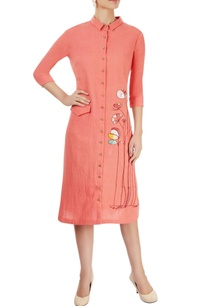 coral-pink-embroidered-midi-dress