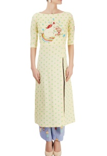 light-yellow-unicorn-kurta-lavender-pants