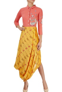 coral-pink-yellow-draped-dress