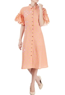 peach-star-print-midi-dress