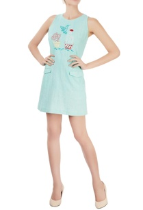 pastel-blue-khadi-short-dress