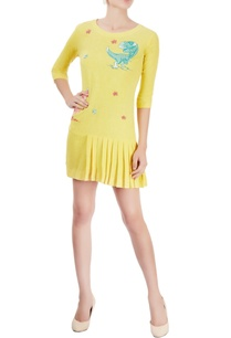 yellow-embroidered-short-dress