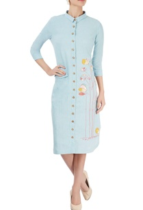pastel-blue-embroidered-shirt-dress