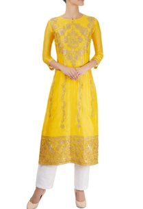 marigold-yellow-kurta-with-hand-cut-appliques
