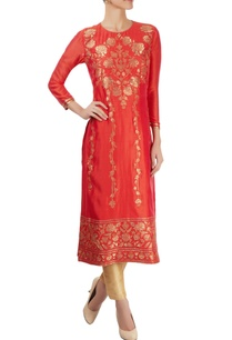 coral-red-kurta-with-appliques